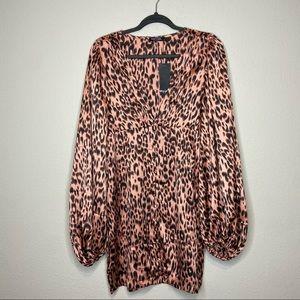 NWT NASTYGAL Cheetah Print Balloon Sleeve Dress 10
